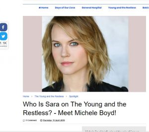 Meet Michele Boyd - Sara on The Young and The Restless from Soap Opera News